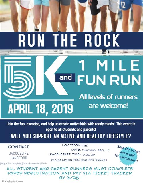 Run the Rock April 18, 2019 5K or 1 Mile Run