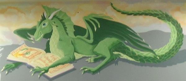 Dragon Painting in Library