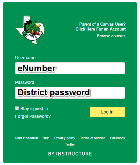 Log in with your eNumber and district password.